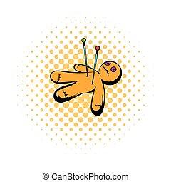 Voodoo doll icon, comics style