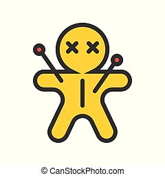 voodoo doll icon, halloween character related set, editable stroke