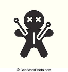 voodoo doll icon, halloween character related set, glyph style