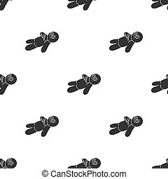 Voodoo doll icon in black style isolated on white background. Black and white magic pattern stock vector illustration.