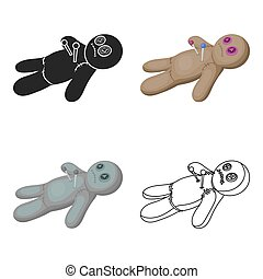 Voodoo doll icon in cartoon style isolated on white background.