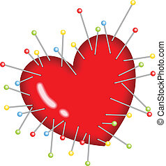 Image representing a voodoo heart with pins stick , isolated on white, vector design.