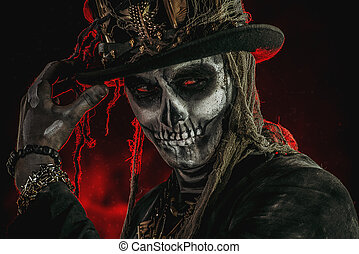 voodoo traditional character - A man with a skull makeup ...