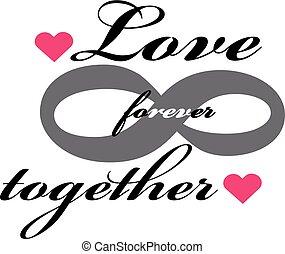 voor altijd, Liefde, illustratie, Vrijstaand, achtergrond,  Vector, witte, pictogram