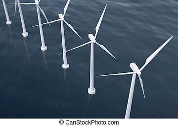 voor de kust, luchtmening, van, wind turbines, in, de, sea., schone energie, ecologisch, concept., 3d, vertolking
