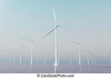 voor de kust, windlandbouwbedrijf, turbines, gevangenene, in, ondergaande zon , sky., mooi, contrast, met, de, blauwe , sea., ecologisch, concept., 3d, vertolking
