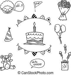 voor, geitjes, doodle, verjaardagsfeest
