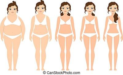 voor, vrouw, dieet, na, spotprent
