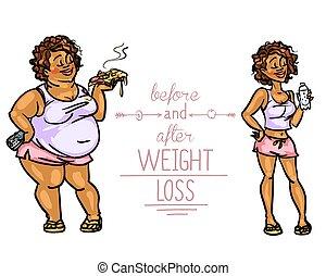voor, vrouw, loss., gewicht, na