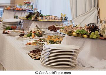 voorafjes, en, salades, op, buffet