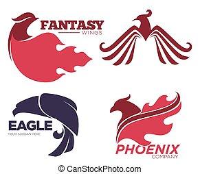 voorbeelden, adelaar, set, feniks, company., vogel, fantasie, innovatie, logo, veiligheid, of