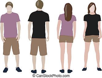 &, voorbeelden, back), t-shirt, ontwerp, (front