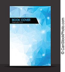 voorbeelden, /, blauwe , veelhoek, informatieboekje , vector, dekking, ontwerp, informatieboekje