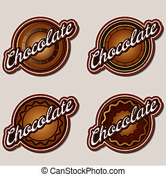 voorbeelden, etiketten, vastgesteld ontwerp, chocolade