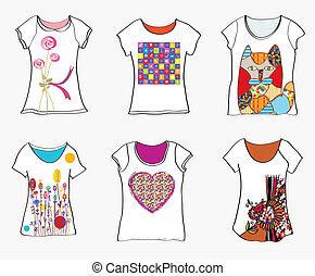voorbeelden, gekke , verf, motieven, ontwerp, t-shirts