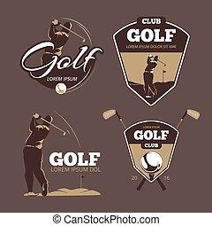 voorbeelden, golfspel club, land, vector, logo