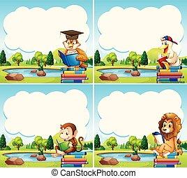 voorbeelden, grens, boekjes , dieren, lezende