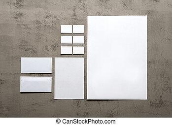 voorbeelden, grijs, set, muur, bedrijfsidentiteit