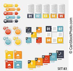 voorbeelden, illustra, zakelijk, verzameling, infographic, vector