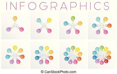 voorbeelden, infographics, anders, set, tien, kleurrijke, posities, vijf, zeven, ontwerpen, zes, drie, vier, tekst, negen, acht, gebieden