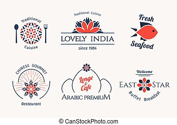 voorbeelden, logo, vector, aziaat