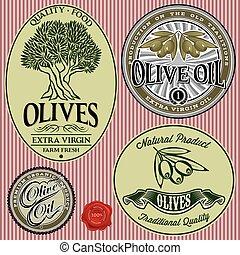 voorbeelden, olive, set, boompje, olie