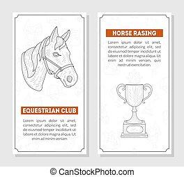 voorbeelden, paarde, ruiter, school, banieren, club, tekst, hand, lessen, vector, plek, illustratie, monochroom, kaarten, getrokken, sportende, paardrijden