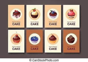 voorbeelden, pie., anders, soorten, mal, restaurant, menu., ontwerp, toetjes, aankondigingen, vector., taart, dessert:, fruits., jouw, affiches, postkaarten