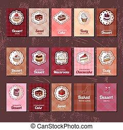 voorbeelden, pie., anders, soorten, muffin, restaurant, dessert., menu., ontwerp, macaroon, aankondigingen, taart, jouw, affiches, postkaarten