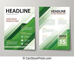 voorbeelden, plat, set, zakelijk, flyer, dekking, magazine, ...