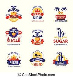 voorbeelden, product, iconen, verpakken, suiker, vector, logo, design.
