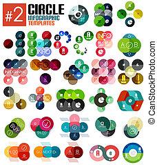 voorbeelden, reusachtig, set, infographic, #2, cirkel