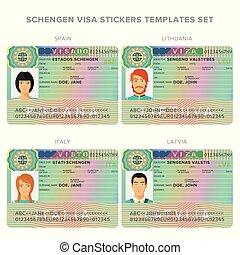 voorbeelden, schengen, italië, litouwen, sticker, visum, paspoort, set, spanje, letland