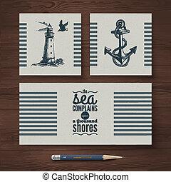 voorbeelden, schets, set, reizen, hand, banners., vector, ontwerp, zee, nautisch, illustraties, getrokken, identiteit