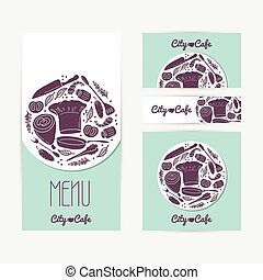 voorbeelden, set, branding., visitekaartje, flyer, poster, menu, voedsel., identificeren, mal, doodle, kaarten, koffiehuis, spandoek