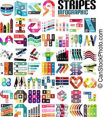 voorbeelden, set, groot, moderne, -, infographic, lijnen