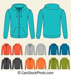 voorbeelden, set, hoodies, gekleurde, mannen