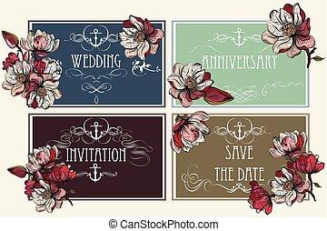 voorbeelden, set, ouderwetse , flowers., verzameling, uitnodigingen, ideaal, vector, ontwerp, datum, sparen, of, style.eps