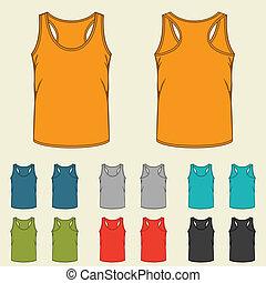 voorbeelden, singlets, men., set, gekleurde