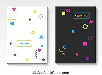 voorbeelden, stijl, kunst, postkaart, knallen, vector, geometrisch