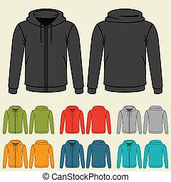 voorbeelden, sweatshirts, men., set, gekleurde