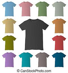 voorbeelden, t-shirt, kleuren, vector, ontwerp, gevarieerd