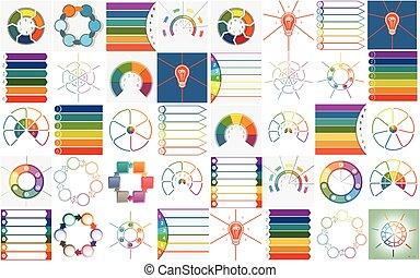 voorbeelden, uitwerken, cyclic, 40, vector, infographics