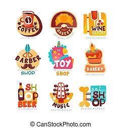 voorbeelden, vector, embleem, koffie, set, bier, muziek, speelbal, verzameling, illustraties, aanhalen, gevarieerd, achtergrond, bakkerij, wijntje, logo, witte , winkels, kapper, markt