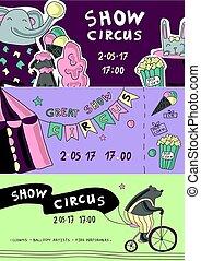 voorbeelden, vector, illustration., carnaval, circus, animals., chapiteau, flyer, getraind, ticket, of, tentje