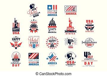 voorbeelden, verenigd, set, staten, vector, onafhankelijkheid, illustraties, logo, amerika, dag, kentekens, vrolijke