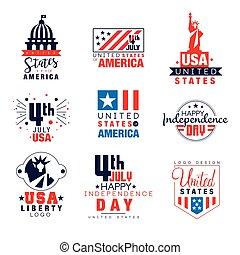 voorbeelden, verenigd, set, vector, staten, 4, onafhankelijkheid, illustraties, logo, juli, amerika, dag, kentekens