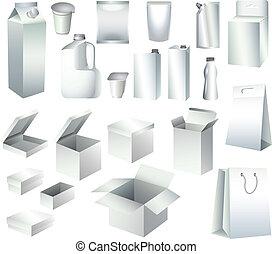 voorbeelden, verpakking, dozen, papier, flessen