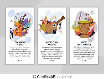 voorbeelden, web, klassieke muziek, opvoering, pagina, folk-...