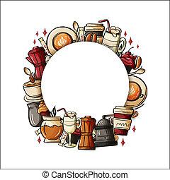 voorbeelden, winkel, koffie, identity., kleurrijke, getrokken, hand, vector, doodles, restourant, banieren, collectief, spotprent, design.